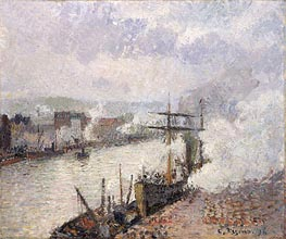 Steamboats in the Port of Rouen, 1896 by Pissarro | Painting Reproduction