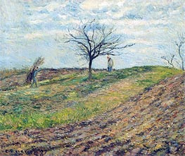 Cultivated Land in Winter, a Man Carrying Fagots, 1877 von Pissarro | Gemälde-Reproduktion