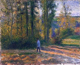 Landscape with a Hunter, Pontoise, 1879 by Pissarro | Painting Reproduction