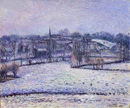 Snow Scene at Eragny (View of Bazincourt), 1884 by Pissarro | Painting Reproduction