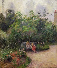 A Corner of the Garden at the Hermitage, Pontoise, 1877 by Pissarro | Painting Reproduction