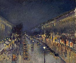 The Boulevard Montmartre at Night, 1897 von Pissarro | Gemälde-Reproduktion
