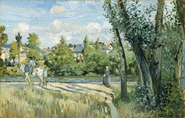 Sunlight on the Road, Pontoise, 1874 von Pissarro | Gemälde-Reproduktion