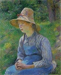 Peasant Girl with a Straw Hat, 1881 von Pissarro | Gemälde-Reproduktion