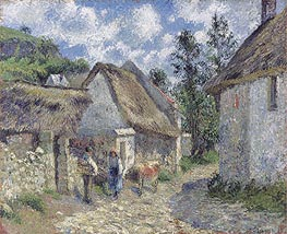Rue des Roches in Valhermeil in Auvers-sur-Oise, Cottages and Cow | Pissarro | Gemälde Reproduktion
