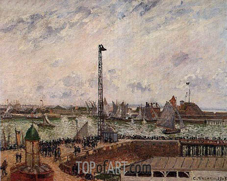 The Pilots' Jetty, Le Havre, Morning, Cloudy, 1903 | Pissarro | Painting Reproduction