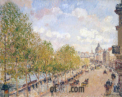 Quai Malaquais, Sunny Afternoon, 1903 | Pissarro| Painting Reproduction