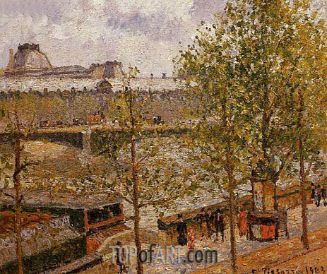 Pissarro | The Louvre, Morning, Sun, Quai Malaquais, 1903