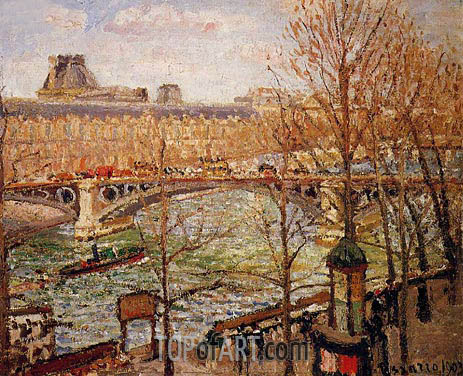 The Pont du Carrousel, Afternoon, 1903 | Pissarro | Painting Reproduction