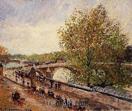 Pissarro | The Pont Royal - Grey Weather, Afternoon, Spring, 1903