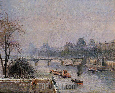 The Louvre - Morning, Snow Effect, 1903 | Pissarro | Painting Reproduction