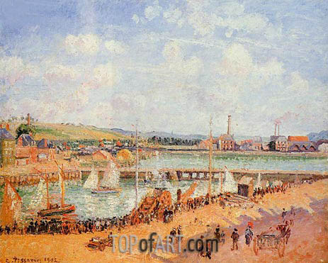 The Port of Dieppe, the Duquesne and Berrigny..., 1902 | Pissarro | Gemälde Reproduktion