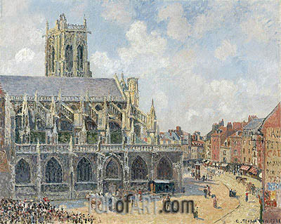 The Church of St Jacques in Dieppe, Morning Sun, 1901 | Pissarro| Painting Reproduction