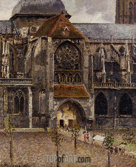 Portal of the Church Saint-Jacques, Dieppe, 1901 | Pissarro | Painting Reproduction