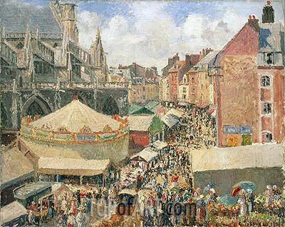 The Fair in Dieppe, Sunny Morning, 1901 | Pissarro| Painting Reproduction