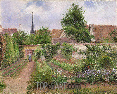 Vegetable Garden in Eragny, Overcast Sky, Morning, 1901 | Pissarro| Gemälde Reproduktion