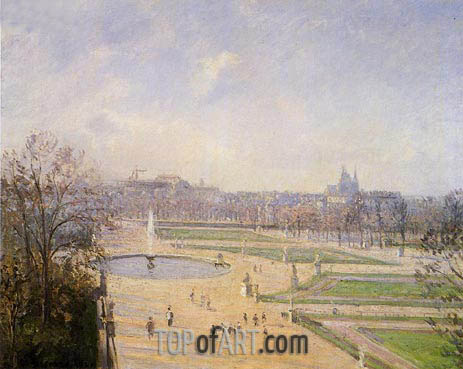 The Bassin des Tuileries - Afternoon, Sun, 1900 | Pissarro | Painting Reproduction
