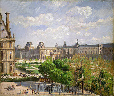 Pissarro | Place du Carrousel, the Tuileries Gardens, 1900