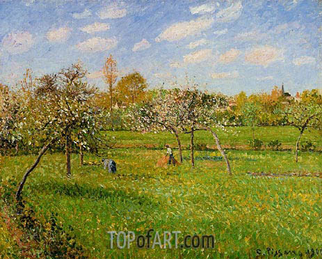 Spring Morning, Cloudy, Eragny, 1900 | Pissarro| Painting Reproduction