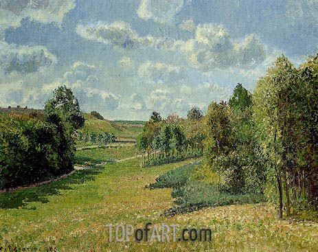 Berneval Meadows, Morning, 1900 | Pissarro | Painting Reproduction