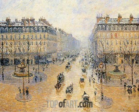 Avenue de l'Opera - Snow Effect, 1898 | Pissarro| Painting Reproduction