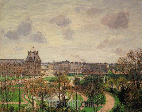 Pissarro | Garden of the Louvre - Morning, Grey Weather, 1899