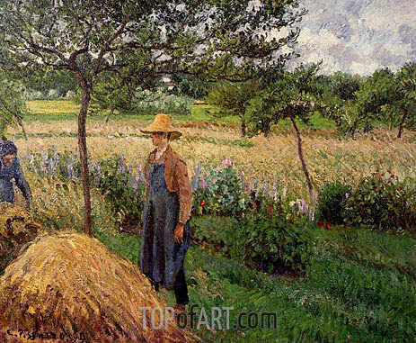Grey Weather, Morning with Figures, Eragny, 1899 | Pissarro | Gemälde Reproduktion