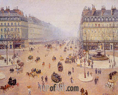 Avenue de l'Opera, Place du Theatre Francais, 1898 | Pissarro | Painting Reproduction