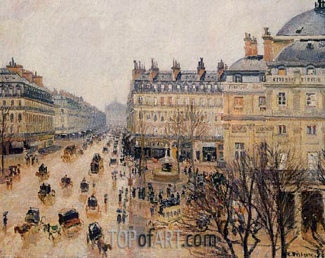 Place du Theatre Francais - Rain Effect, 1898 | Pissarro| Painting Reproduction