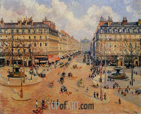 Pissarro | Avenue de l'Opera - Morning Sunshine, 1898