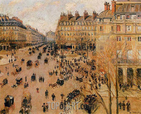 Place du Theatre Francais - Sun Effect, 1898 | Pissarro | Painting Reproduction