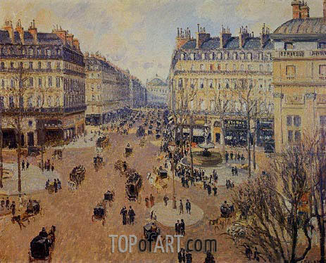 Pissarro | Place du Theatre Francais - Afternoon Sun, Winter, 1898