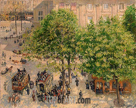 Place du Theatre-Francais. Spring, 1898 | Pissarro| Painting Reproduction