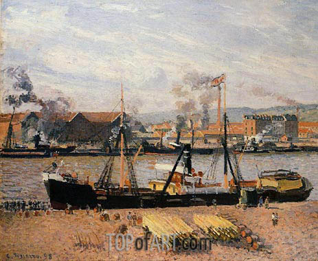 The Port of Rouen - Unloading Wood, 1898 | Pissarro| Gemälde Reproduktion