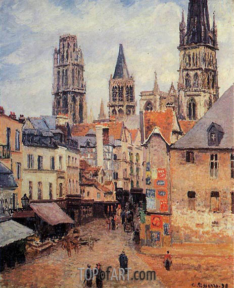 Rue de l'Epppicerie, Rouen - Morning, Grey Weather, 1898 | Pissarro | Painting Reproduction