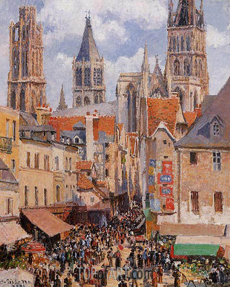 Pissarro | Rue de l'Epicerie, Rouen (Effect of Sunlight), 1898