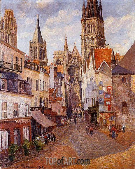 Sunlight, Afternoon, La Rue de l'Epicerie a Rouen, 1898 | Pissarro | Painting Reproduction
