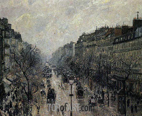 Boulevard Montmartre - Foggy Morning, 1897 | Pissarro | Painting Reproduction