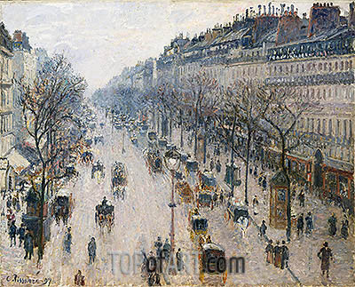 The Boulevard Montmartre on a Winter Morning, 1897 | Pissarro| Painting Reproduction