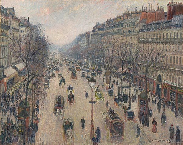 Pissarro | Boulevard Montmartre, Morning, Cloudy Weather, 1897