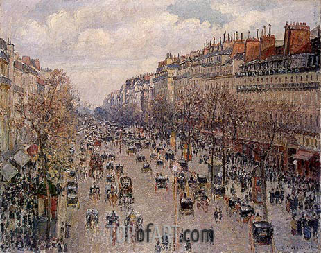 Boulevard Montmartre - Afternoon, Sunshine, 1897 | Pissarro | Painting Reproduction