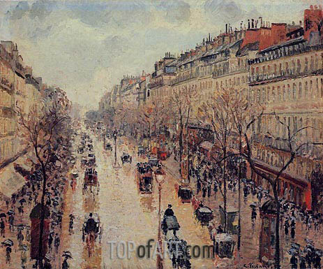 Pissarro | The Boulevard Montmartre, Afternoon, in the Rain, 1897