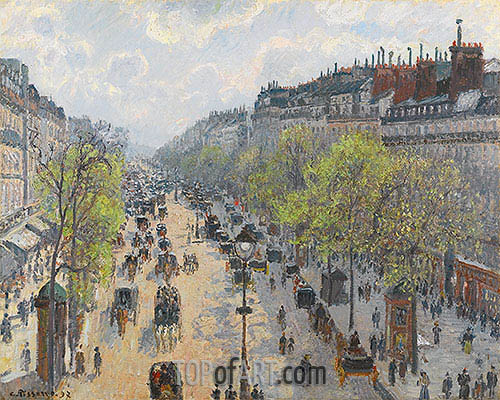 Boulevard Montmartre - Spring, 1897 | Pissarro| Painting Reproduction