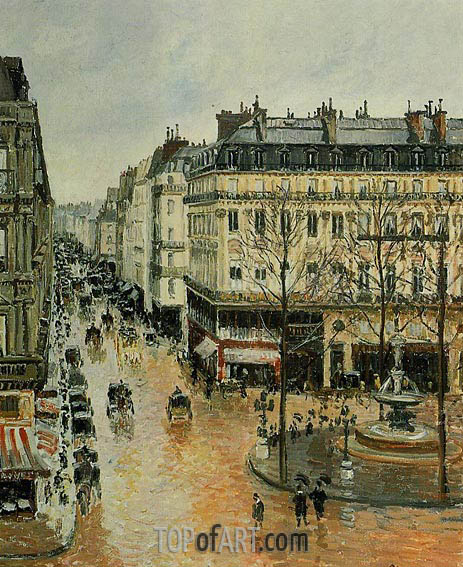 Pissarro | Rue Saint-Honore - Afternoon, Rain Effect, 1897