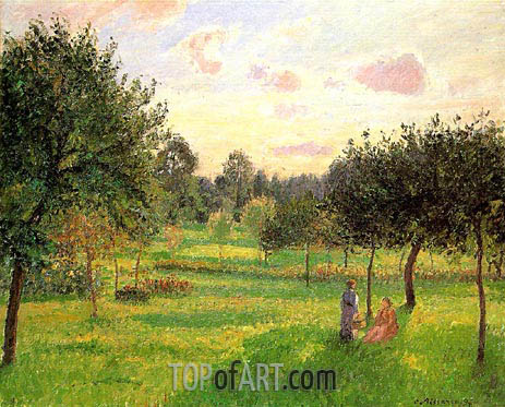 Pissarro | Two Women in a Meadow: Sunset at Eragny, 1897