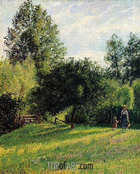 Apple Trees, Sunset, Eragny, 1896 | Pissarro | Gemälde Reproduktion