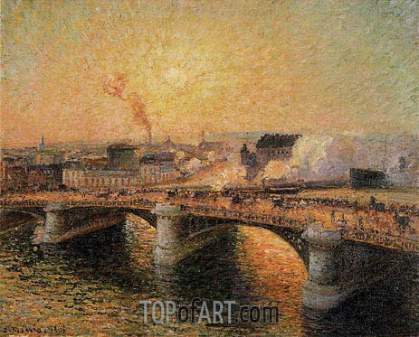 Pissarro | The Boieldieu Bridge, Rouen - Sunset, 1896