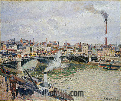 Morning, An Overcast Day, Rouen, 1896 | Pissarro| Painting Reproduction