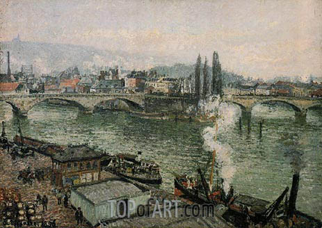 The Corneille Bridge, Rouen - Grey Weather, 1896 | Pissarro | Gemälde Reproduktion