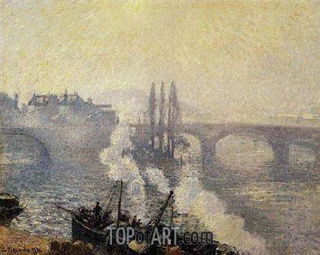 Pissarro | The Corneille Bridge, Rouen, Morning Mist, 1896